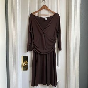 London Style Brown 3/4 Sleeve Dress